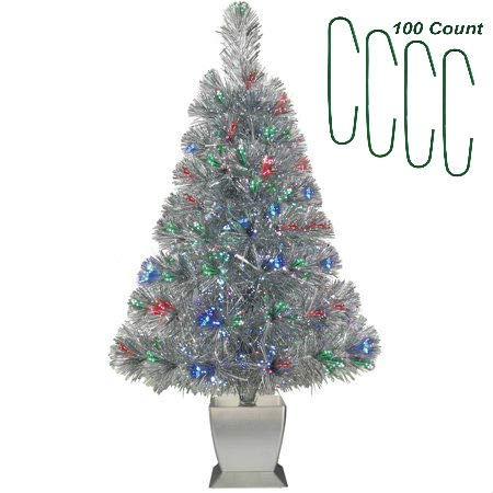 Silver Fiber Optic Christmas Tree Pre Lit Artificial 32 inch Concord with Christmas Decoration Ornament Hooks 100 Count ()