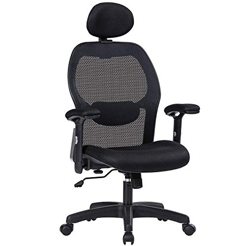 MBOO Ergonomic Office Chair, High Back Executive Swivel Computer Desk Chair with Adjustable Armrests and Headrest, Back Lumbar Support, Black ()