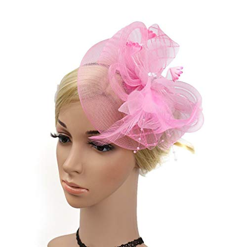 Women Girls Fascinator Hat Headband Veil Feather Headwear Wedding Party Costume (Color - Pink) -