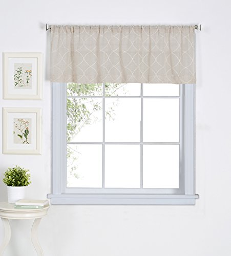 Elrene Home Fashions Taylor Embroidered Rod Pocket Café/Kitchen Valance Window Curtain, 60