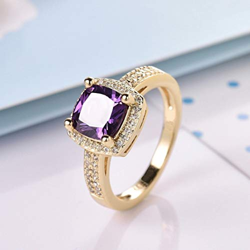 aiyuyu Womens 14K Gold Filled Princess Purple Amethyst Crystal Rhinestone Promise Rings Two-Tone Gold Checkerboard and Halo Engagement Ring (8)