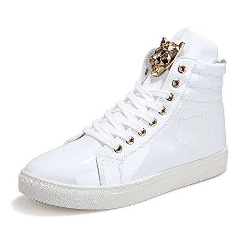 Patent Men Sneakers - PP FASHION Men's Teenagers Fashion Sneakers Basketball Patent Gym Training Running Stylish Casual Shoes US9/CN42 White