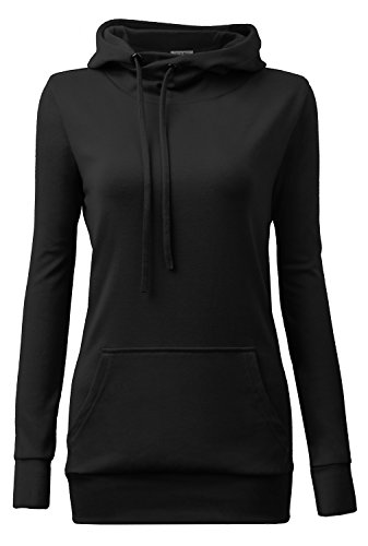 Plus size hoodies,YaYa Bay Womens Long Sleeve String Pullover Funnel Neck Kangaroo Pouch Pocket Vintage Corn Tunic Sweater Hoodie, Black, XXX-Large