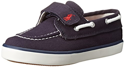 Polo Ralph Lauren Kids Sander EZ Canvas Fashion Boat Shoe (Toddler/Little Kid), Navy, 10 M US (Toddler Navy Canvas Footwear)