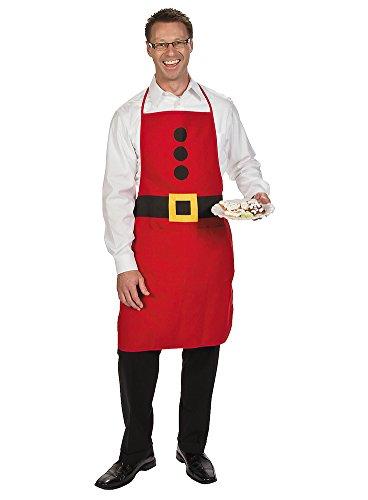 Santa Apron - Adult Santa Clause Christmas Holiday Baking Festive Cotton Apron