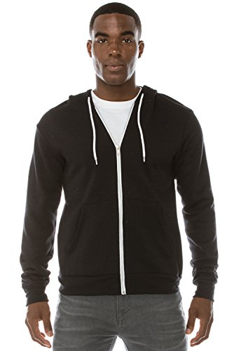 Mens Hipster Hip Hop Long Sleeve Fleece Classic Zip-Up BLACK Hoodie Jacket 2XL