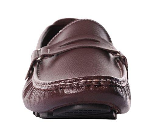 Ujoowalk Uomo Casual Slip-on Driving Dress Mocassino Scarpe Marrone Scuro