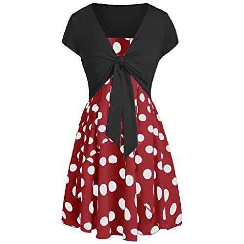 - Dresses for Women Summer Sleeveless Dot Print Strappy Cami Dress & Cap Sleeve V Neck Bandage Cardigan Crop Tops Set