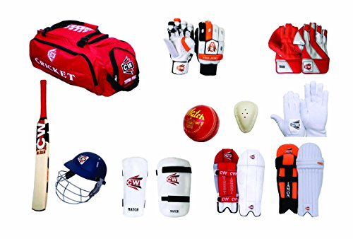 CW Premium Complete Cricket Kit With Batting & Keeping Accessories in Kashmir Willow Bat (Ideal for Senior Players) by C&W