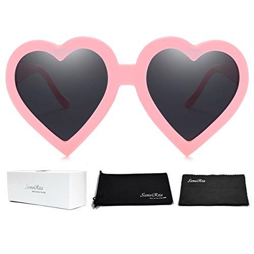SamuRita New Thick Frame Novelty Heart Sunglasses for Women Girls Party Favor Cheer leader - Glasses Frames New Girl