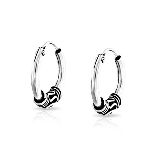 93a027c584f802 Bali Style Tribal Swirl Continuous Endless Tiny Round Hoop Earrings  Oxidized 925 Sterling Silver .50