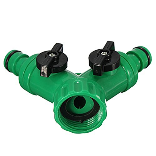 Price comparison product image Screw Hose Pipe Splitter 2 Way Connector Adaptor Garden Tool Quick Turn Off Tap - Green liyhh