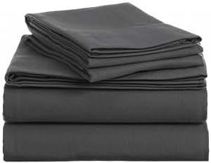 400-thread Count bedskirt UK solo gris oscuro sólido 100% algodón egipcio