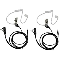 GoodQbuy FBI Style Covert Acoustic Tube Headset Earpiece Mic For Cobra Micro-Talk 2 Way Radios Walkie Talkie MT200 MT525 MT550 PR375 PR385 PR550 CX80 CX105 CXT85 CXT88 CXT90 CXT94 1-pin (2 Packs)