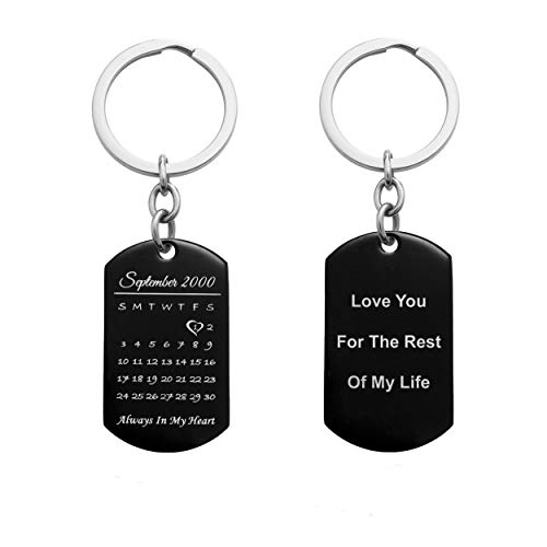 Queenberry Custom Personalized Calendar Engraving Keychain Memorial Date & Text Stainless Steel Dog Tag Love Note to Husband Wife Lover Couple Anniversary Birthday