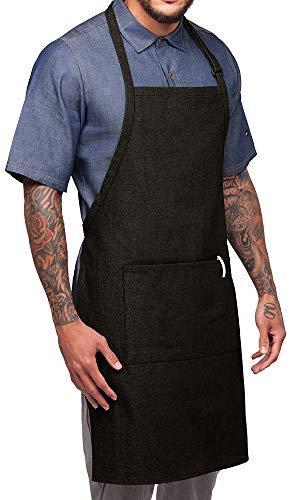 Industry Line Chef Adjustable Bib Premium Denim Apron (Black -