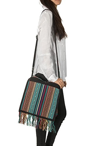 Tribe Azure Woven Adjustable Strap Shoulder Bag Hobo Messenger Women Fashion Handbag Unique Roomy Tassel (Woven ()