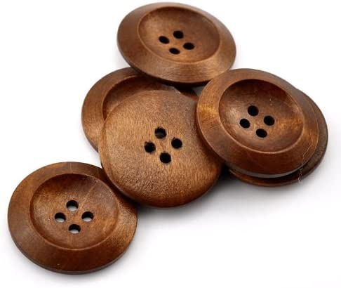 Wooden Rimmed Chestnut Coloured Buttons 30mm The Bead and Button Box