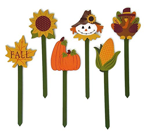 Thanksgiving Yard Stakes (Fall Decor: Fall Porch Decorations for Halloween, Autumn Decor, Harvest Decor, and Thanksgiving Porch Decor, Set of 6 Decorative Wooden Stake)