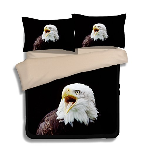 FAITOVE Black Eagle Microfiber 3pc 90''x90'' Bedding Quilt Duvet Cover Sets 2 Pillow Cases Queen Size by FAITOVE