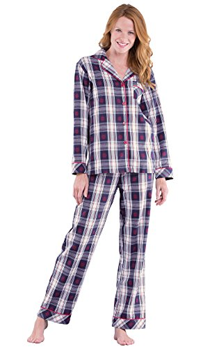- PajamaGram Button Down Pajamas for Women - Cotton Plaid, Blue/Red, M, 8-10