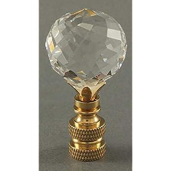 LAMP FINIAL-GLASS FRENCH PENDALOGUE LAMP FINIAL-SATIN NICKEL BASE