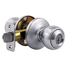 Kwikset 400P 26D SMT SmartKey re-key technology Polo Entry Knob, Satin Chrome