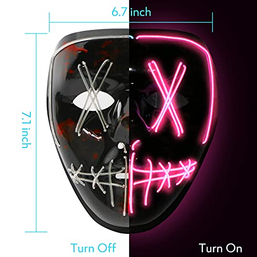 DomeStar LED Mask, Two Colors LED Light Up Mask Purge Mask Glow Mask Halloween Mask for Halloween Festival Party