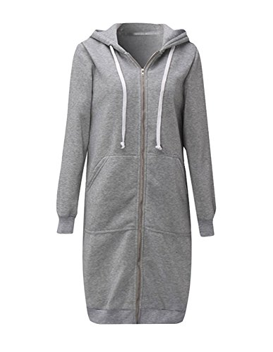 Ray-JrMALL Womens Long Zip Cardigans Long Sleeve Thic Hoodie Tunics Grey L
