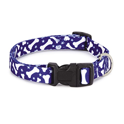 "Casual Canine Nylon Pooch Patterns Dog Collar, Fits Necks 6"" to 10"", Blue Bone"