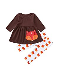 Pollyhb Toddler Baby Girls Long Sleeves T Shirt Cartoon Fox Tops Pants Girls Clothes