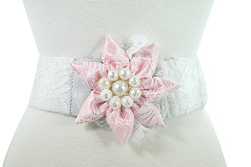Bridal Wedding Pink Flower White Lace Imitation Pearl Accent Stretch (Omaha Bridal Shops)