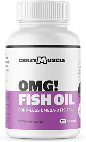Omega 3 Fish Oils Supplements – NO Fishy Burps – 100% Anchovies (Lower Mercury with Small Fish) and Non-GMO by Crazy Muscle: 250% More DHA EPA Lowering Cholesterol Products per Serving – 120 Softgels