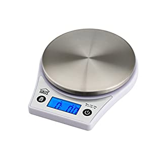 Haus HKS 44356 W Digital Kitchen Food Scale Multifunction Stainless Steel Tray, 11 Lb (5Kg), White