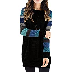 ECOWISH Womens Cotton Knitted Color Print Long Sleeve Lightweight Blouse Basic Sweatshirt Tops
