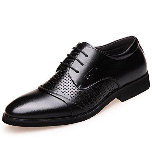 Koyi Formale Geschäfts-Leder-Schuhe der Sommer-Männer Breathable Spitze-zufällige Spitze Schuhe der Männer Black-2