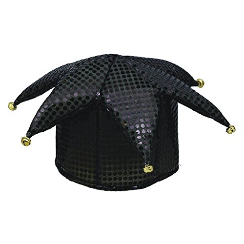 Mystical Masquerade Party Sequined Jester Hat Accessory, Black, Fabric, 5