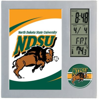 WinCraft NCAA North Dakota State Desk Clock, Black