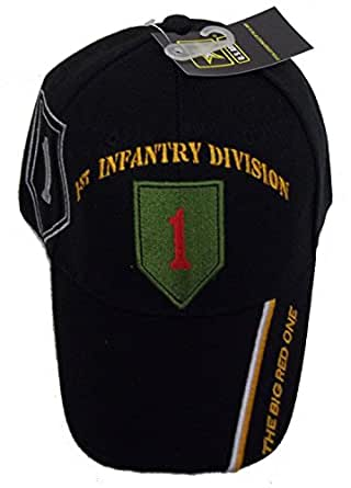 1st Infantry Division Black Embroidered Baseball Cap Ball Hat World War Army