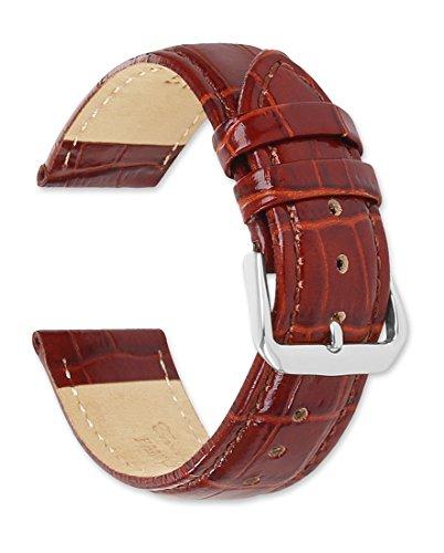 deBeer brand Crocodile Grain Watch Band (Silver & Gold Buckle) - Havana ()