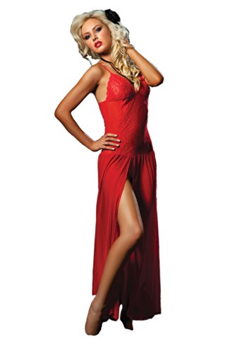 Seven Til Midnight Women's Mesh Floor Length Gown and Thong