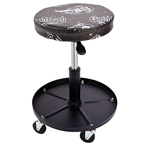 Gas Monkey Pneumatic Garage Chair with Tool Tray - 5 Rolling Casters with 300 Lbs Capacity