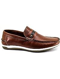 Sapato mocassim Masculino Mr Light Couro Confort Furadinho Italia