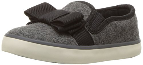 Heather Footwear (Hanna Andersson Girls' UNA Bow Slip-on Skate Shoe, Heather Grey, 10 M US Toddler)
