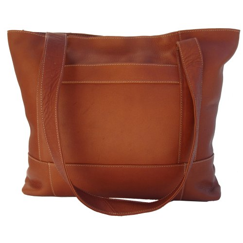 Piel Leather Top-Zip Tote, Saddle, One Size ()