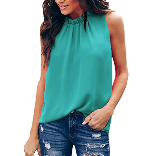 TUSANG Women Tees Summer Floral Pleated Solid Sleeveless Casual Tunic Top Tank Shirt Vest Stand Collar Comfy Tunic Mint Green