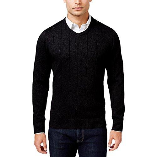 John Ashford Mens Ribbed Trim Long Sleeves Pullover Sweater Black L - Black Long Sleeve Pullover Sweater