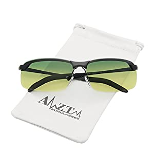 AMZTM Semi-rimless Day Night Reducing Glare Driving Glasses Classic Metal Frame Polarized Sunglasses For Men (Black Frame Gradient Dark Blue and Yellow Lens, 66)