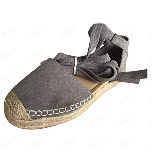 (JJLIKER Women Suede Espadrilles Closed Toe Flats Summer Comfortable Casual Pregnant Ankle Lace Up Sandals Loafers Khaki)