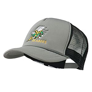 Navy Seabees Symbol Embroidered Mesh Trucker Cap - Grey Black